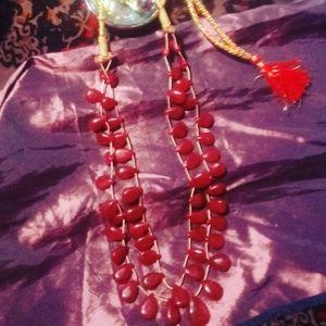 Natural gemstone garnet necklace